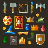 Flaches Se der Spielwaffen-Ikonen Lizenzfreies Stockfoto