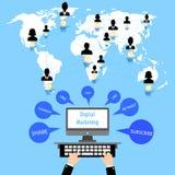 Flaches Social Media und Netzkonzept Grüße über der Welt Websiteprofilavataras Verbindung zwischen Leuten plaudern Stockbild