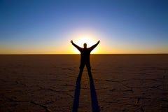 Flaches Sonnenaufgangschattenbild des Salzes stockfotos