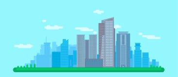 Flaches Stadtbild mit Gebäuden Stockbilder