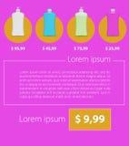 Flaches unbedeutendes Schablonengeschäft Design Flüssige Seife und Blumen Lizenzfreies Stockfoto