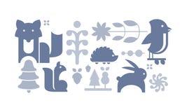 Flaches vectoe stellte von den netten Waldelementen ein Wilde Tiere, Samen, Bäume und Blätter Design für Postkarte oder Kinderbuc stock abbildung