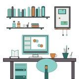 Flaches Vektordesign des Hauptarbeitsplatzes Lizenzfreies Stockfoto