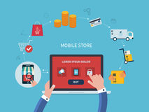 Flaches Vektordesign mit E-Commerce und online Lizenzfreies Stockbild