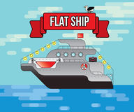 Flaches Vektorschiff, Transport per Schiff, Illustration, Kreuzfahrt transportiert Touristen Stockfotos