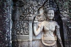 Flachrelief in Banteay Srei, Kambodscha stockfoto