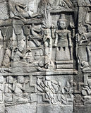 Flachrelief des Bayon Tempels Stockbild