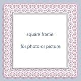 Flachrelief-Quadratrahmen des Vektors 3D für Foto oder Bild, Weinlesevignette stock abbildung