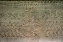 Flachrelief von Shiva in Angkor Wat, Kambodscha stockbild