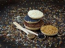 Flachs, indischer Sesam, Kümmel und Mohn Lizenzfreies Stockfoto