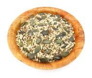 Flachs, Kürbis, indischer Sesam und Sonnenblumensamen gesund Lizenzfreies Stockbild