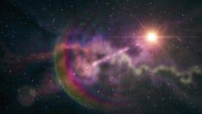 Flackernder Glanz des einzigen großen Sternes im weichen beweglichen Nebelfleck spielt Animationshintergrund des nächtlichen Himm