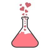 Flacon avec des coeurs Le concept de la chimie d'amour ou l'élixir de l'amour Images stock