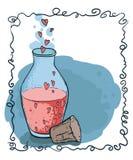Flacon avec le style dessiné d'icône de coeurs à disposition Élixir d'amour Photo stock