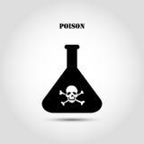 Flacon chimique d'icône plate courante avec un crâne et des os croisés contenant la substance toxique Image libre de droits