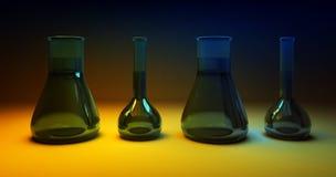Flacons chimiques sur le fond foncé jaune-bleu Photographie stock libre de droits