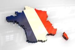 flad 3d Karte von Frankreich Stockfotos