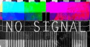 Fladdrandetekniskt felöverföringen, förvridna färgstänger mönstrar ingen signal stock video