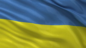 Flaf of Ukraine seamless loop. Flag of the Ukraine waving gently in the wind. Seamless loop with high quality, glossy fabric material stock footage