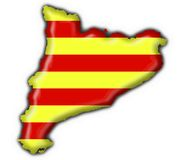 flagę Katalonii guzik mapy kształt Obrazy Stock