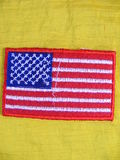 Flag. Marked in handmade cotton fabrics for clothing of various colors,banner United States of America Royalty Free Stock Photo