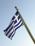Flag. Greek flag and blue sky royalty free stock photos