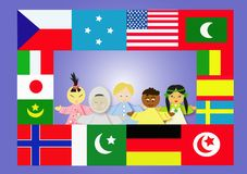 Flag. And kids of the world Royalty Free Stock Image