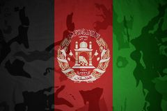 Flag of afghanistan on the khaki texture . military concept Stock Photography
