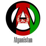 Flag of Afghanistan of the world in the form of a sign of anarchy royalty free illustration
