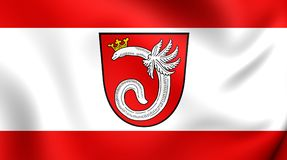 Flag of the Ahlen, Germany. 3D Flag of the Ahlen, Germany. Close Up Stock Image