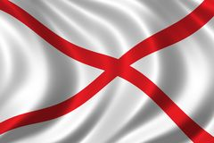 Flag of Alabama. Waving in the wind Royalty Free Stock Photography