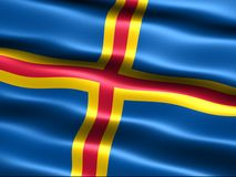 Flag of Aland. With silky appearance and waves (computer generated illustration Stock Photography