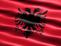 Flag of Albania. With silky appearance and waves (computer generated illustration royalty free illustration