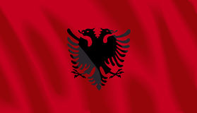 Flag of Albania Stock Photo