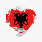 Flag of Albania. Isolated on grunge heart. Vector illustration Royalty Free Illustration