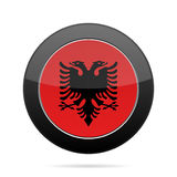 Flag of Albania. Shiny black round button. National flag of Albania. Shiny black round button with shadow Royalty Free Stock Photography