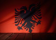 Flag of the Albania with wooden boards. Stock Photo