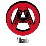 Flag of Albania of the world in the form of a sign of anarchy stock illustration
