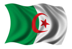 Flag of Algeria. Waving in the wind - clipping path included Royalty Free Stock Photo