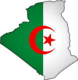 Flag Algeria. The map and the flag of Algeria Royalty Free Stock Images