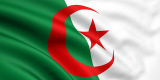 Flag Of Algeria. 3d rendered and waving flag of algeria Royalty Free Stock Photos