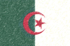 Flag of Algeria background o texture, color pencil effect. Royalty Free Stock Photos