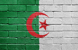 Flag of Algeria on brick wall Stock Images