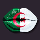 Flag of Algeria. Foreign language school concept. Foreign language tongue, open mouth, flag of Algeria. People`s Democratic Republic of Algeria, a sovereign Stock Photography