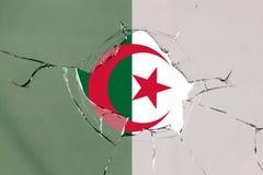 Flag of Algeria on glass. Flag of Algeria on a on glass breakage royalty free illustration