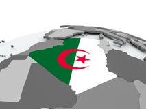Flag of Algeria on globe. Algeria on grey political globe with embedded flag. 3D illustration Stock Image