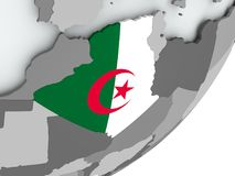 Flag of Algeria on map. Algeria on political globe with flag. 3D illustration Stock Photography