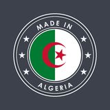 Flag of Algeria. Round Label with Country Name for Unique National Goods. Vector. Isolated stock illustration