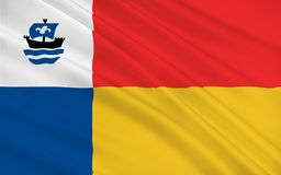 Flag of Almere of Netherlands. Flag of Almere is a planned city and municipality in the province of Flevoland, Netherlands, bordering Lelystad and Zeewolde stock photo