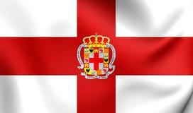 Flag of Almeria City, Spain. 3D Flag of Almeria City, Spain. Close Up Royalty Free Stock Photos
